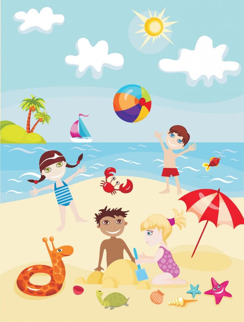 Cartoon Kids in Summer