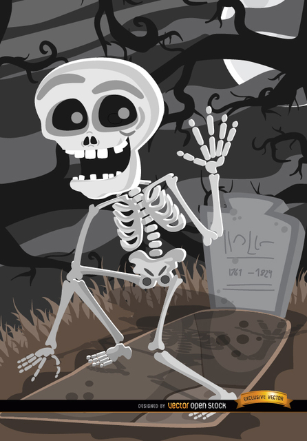 000a4670cfbf039f4fdc36613b3733f1-cartoon-skeleton-tomb-graveyard