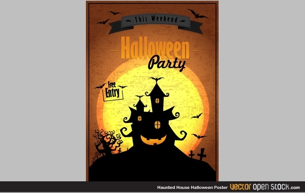1275084e15dcdad5f934d632c41269d4-haunted-house-halloween-poster