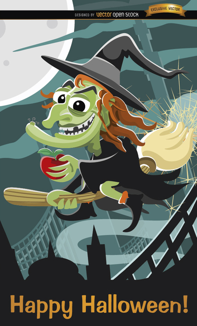 3777f3012e9437ae14c9d3586e303ad4-evil-witch-flying-halloween-poster