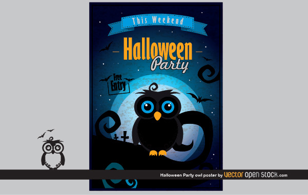 56991041c566e7fcf0f608478fe809e6-halloween-party-owl-poster