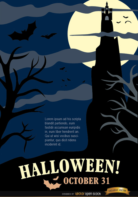 687f5f0e3b143fa02ed78e177ab203b1-halloween-night-party-poster-with-hunted-house-dead-trees