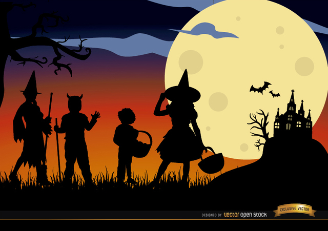 7cc411475bfeea146700d55bf66f3bdd-halloween-children-disguised-silhouettes-background