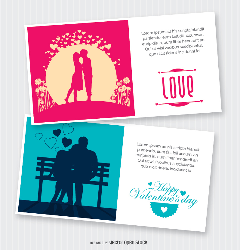 Valentine's Day postcard designs