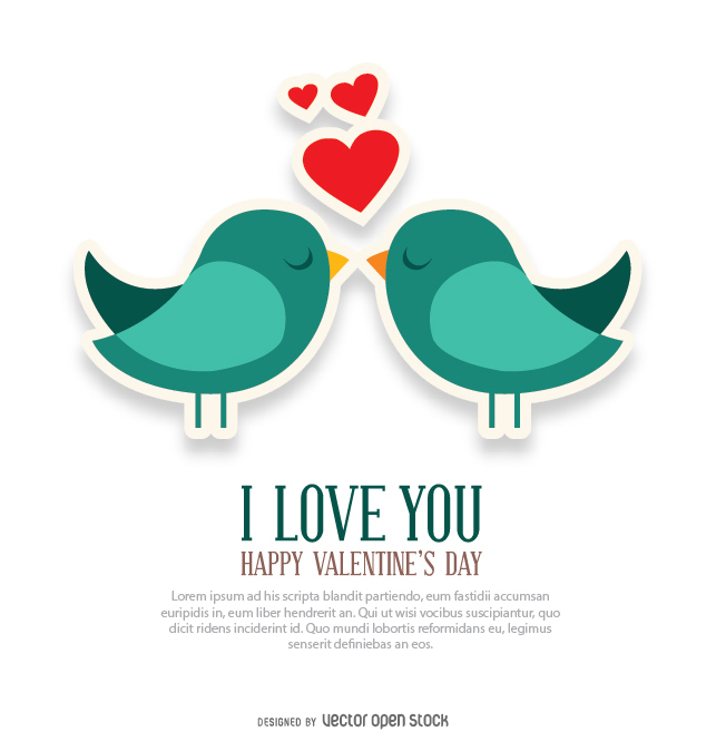 Valentine's Day card with birds