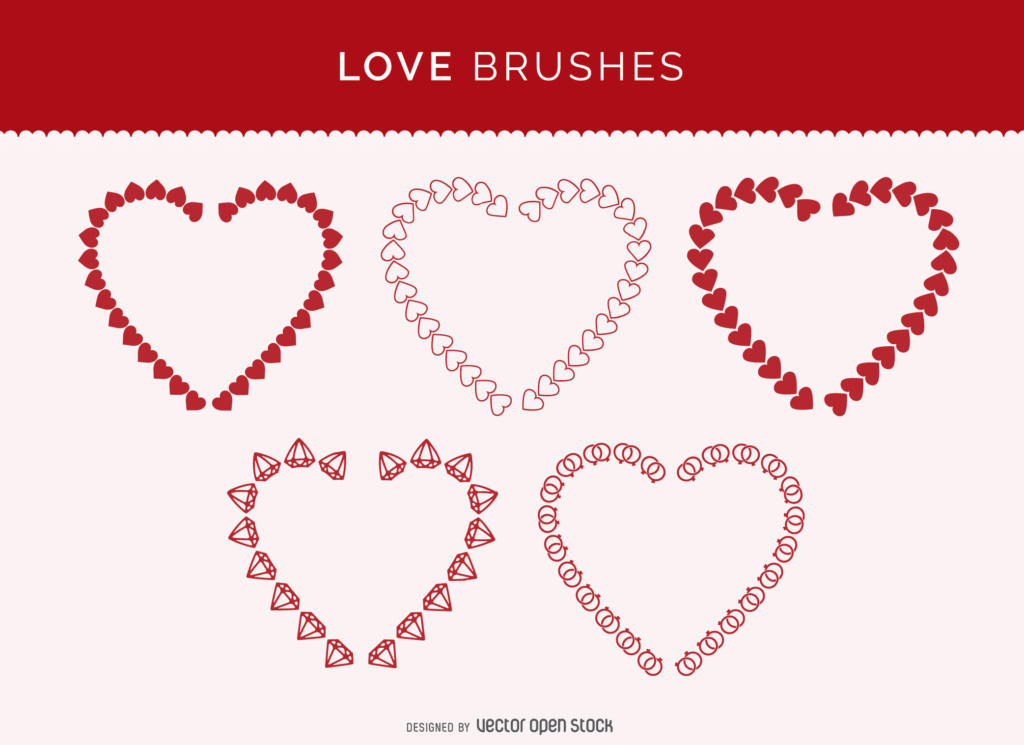 Set of heart brushes