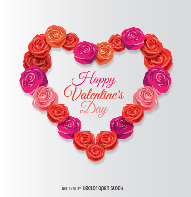 Happy Valentine's Day card with roses