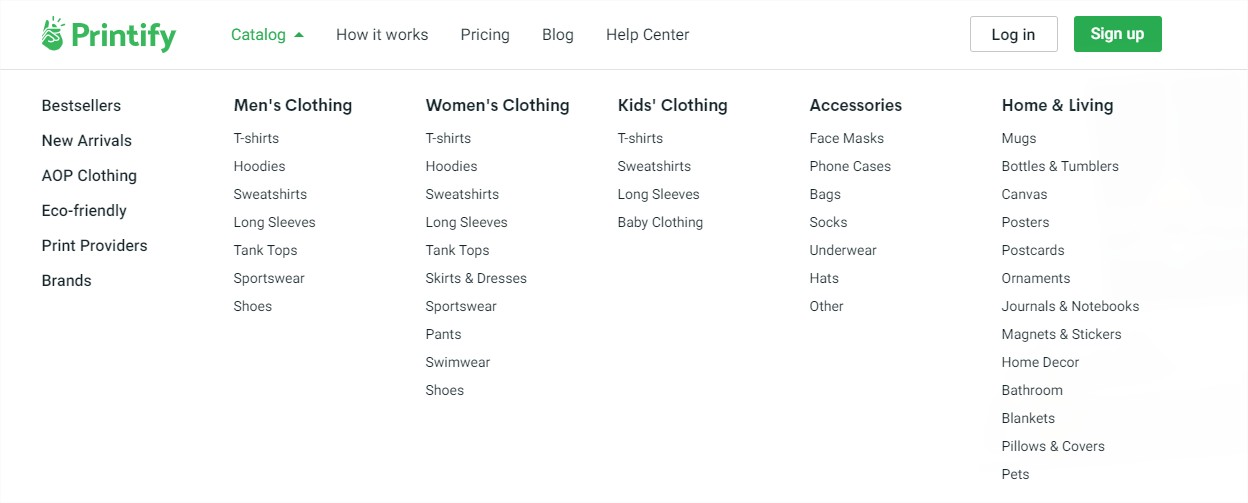 Printify Product list
